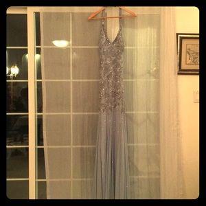 Light blue formal dress with jewels
